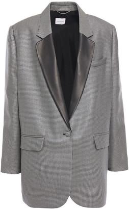 Magda Butrym Ottawa Leather-trimmed Metallic Houndstooth Wool-blend Blazer
