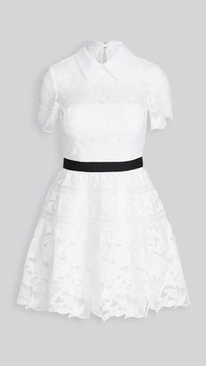 Self-Portrait White Leaf Guipure Mini Dress