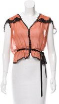 Miguelina Lace-Trimmed Sheer Top
