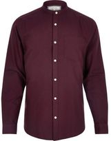 River Island MensBerry red slim fit grandad Oxford shirt