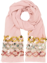 Tory Burch Pink Blossom Embellished Oblong Wool Scarf w/Fringes