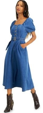 INC International Concepts Inc Smocked Denim Midi Dress, Created for Macy's
