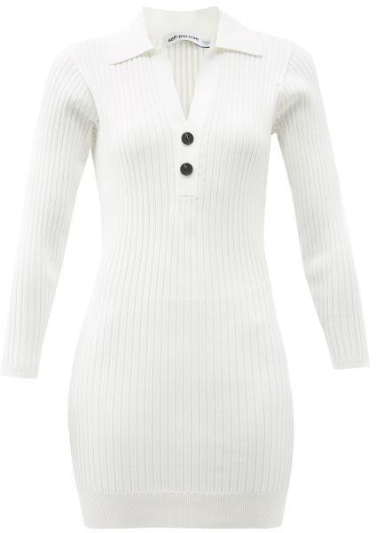 Self-Portrait Point-collar Rib-knitted Mini Dress - Cream