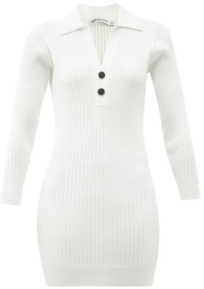 Self-Portrait Point-collar Rib-knitted Mini Dress - Cream
