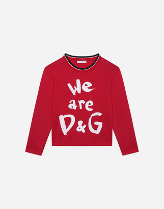 Dolce & Gabbana Long-Sleeved Jersey T-Shirt With We Are Detail