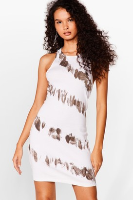 Nasty Gal Womens Tie Oh Tie Dye Racerback Mini Dress - White - 6