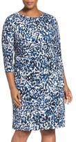 Eliza J Animal Print Jersey Sheath Dress (Plus Size)
