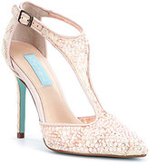 Betsey Johnson Blue by Lace & Mesh Sequin T-Strap Eliza Pumps