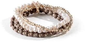 francesca's Ashten Beaded Stretch Bracelet - Bronze