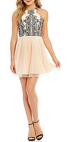 Xtraordinary Caviar Beaded Bodice Fit-and-Flare Party Dress