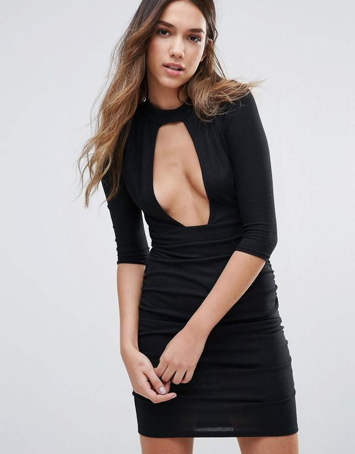 Daisy Street Plunge Front Dress With Choker Neck
