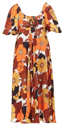 Dodo Bar Or Sweetheart-neckline Floral-print Dress - Womens - Brown Print