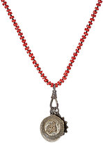Miracle Icons Men's Coral Rondelle & Triple-Pendant Necklace-RED