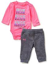 Under Armour Baby Girls Newborn-12 Months Dream, Believe, Achieve Jersey Bodysuit & French Terry Pants Set