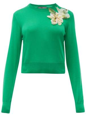 Dolce & Gabbana Lily-applique Cropped Silk Sweater - Womens - Green