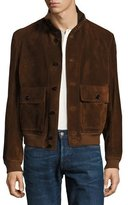 Tom Ford Suede Button-Front Blouson Jacket, Red Rust