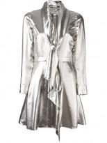 Saint Laurent draped collar flared mini dress