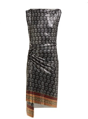 Paco Rabanne Yucca-print Ruched Chainmail Dress - Womens - Black Multi