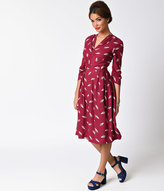 Emily And Fin 1920s Style Bordeaux Purple & Geo Deco Print Victoria Sleeved Swing Dress