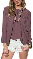 O'Neill Clint Long-Sleeve V-Back Crinkle Gauze Flowy Peasant Top