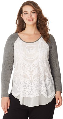 Just My Size Women's Plus Lace Overlay Tunic