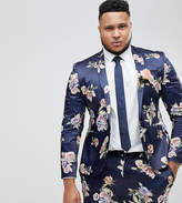 Asos PLUS Wedding Super Skinny Suit Jacket With Navy Floral Print