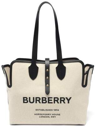 Burberry Horseferry-logo Medium Canvas Tote Bag - Ivory Multi