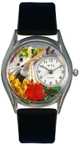 Whimsical Watches Women's S1213001 Autumn Leaves Black Leather Watch