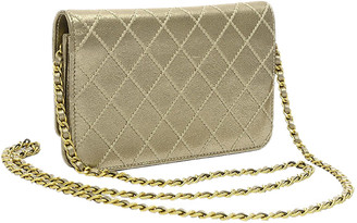 Chanel Gold Quilted Leather Wild Stitch Wallet On Chain Bag