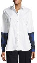Fuzzi Long-Sleeve Button-Front Poplin Shirt w/ Floral Combo