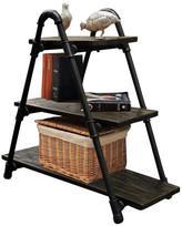 Furniture Pipeline Charleston Chic Display Bookcase, Black Steel/Dark Brown