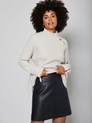 Mint Velvet Leather Mini Skirt - Black