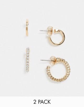 Pieces 2 pack hoop earrings in gold