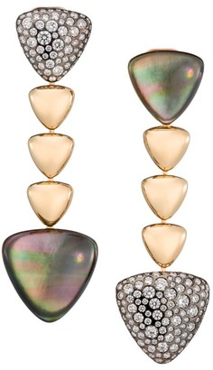 Mother of Pearl Freccia 18K Rose Gold, Grey Mother-Of-Pearl, Rock Crystal Quartz & Diamond Linear Earrings