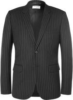 Saint Laurent - Black Slim-fit Leather-trimmed Pinstriped Wool Blazer