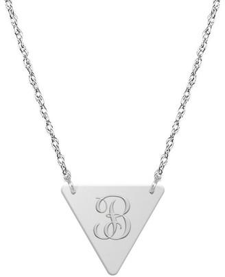 Jane Basch 14K Script Initial Triangle Necklace (A-Z)