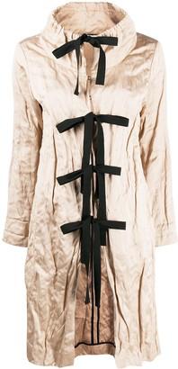 Prada Pre-Owned Tie-Fastening Creased Knee-Length Coat