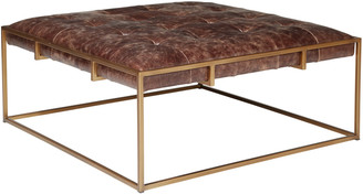 OKA Wallace Coffee Table/Ottoman, Square - Aged Hazelnut Leather