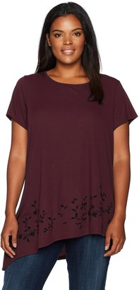 Love Scarlett Women's Plus Size Flocked Asymmetric Knit Tee Shirt