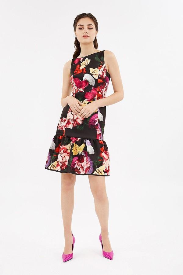 Coast Printed Scuba Ruffle Hem Dress