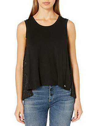Armani Exchange A|X Women's Sleeveless Scoop Neck Tank with Side Slits