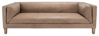 "Safavieh Couture Bernadette 88.2"" Wide Genuine Leather Square Arm Sofa"