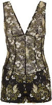 SILK READY TO WEAR Black and gold floral stretch lace playsuit with embroidery