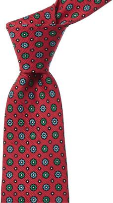 Kiton Pink Flowers Silk Tie