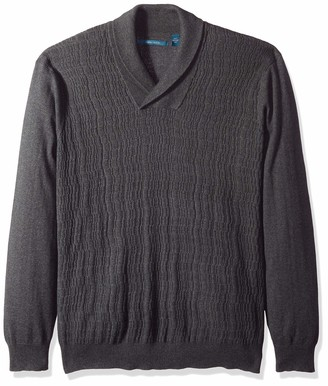 Perry Ellis Men's Big Cable Knit Shawl Collar Sweater