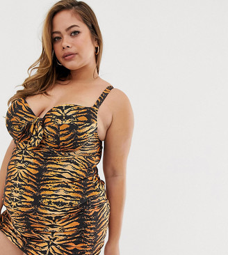 Wolf & Whistle Curve Exclusive Eco tankini top in tiger print