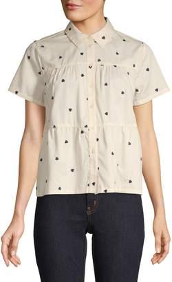 Madewell Seamed Heart Print Button-Down Shirt