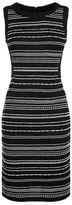 St. John Striped Knit Sleeveless Pencil Dress