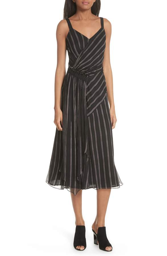 Jason Wu GREY Painterly Stripe Ruffle Silk Dress