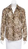 L'Agence Leopard Button-Up Blouse